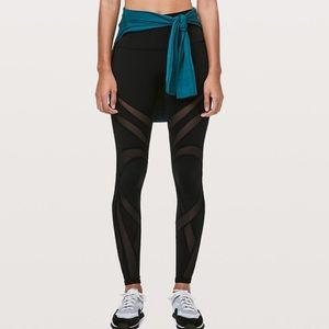 Black lulu Wunder Under Running Tights with Mesh